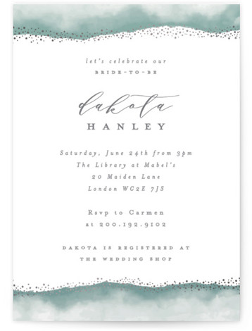 This is a green, silver Bridal Shower Invitations by Everett Paper Goods called Dip Dyed Glitter with Foil Pressed printing on Signature in Classic Flat Card format. This bridal shower invitation includes a hand painted watercolor frame sprinkled with gold ...