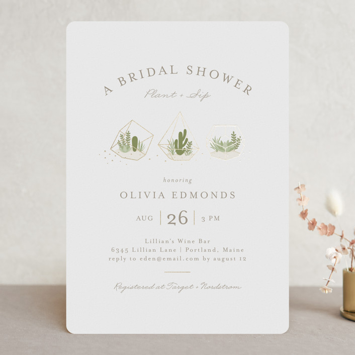 """Bridal Terrariums"" - Foil-pressed Bridal Shower Invitations in Cotton by Jessica Maslyn."