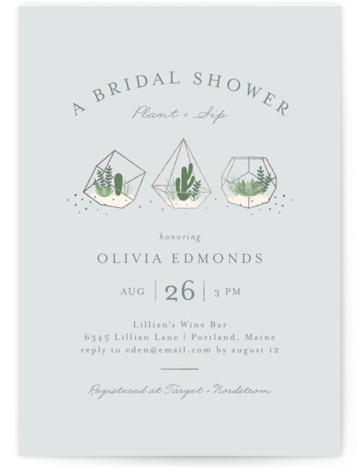 """This is a blue, silver Bridal Shower Invitations by Jessica Maslyn called Bridal Terrariums with Foil Pressed printing on Signature in Classic Flat Card format. A """"Plant & Sip"""" theme bridal shower featuring geometric terrariums."""