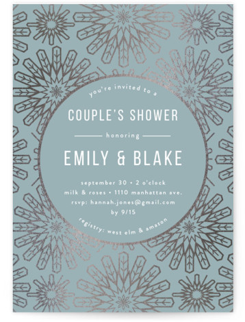 This is a blue, silver Bridal Shower Invitations by Melanie Kosuge called RADIAL with Foil Pressed printing on Signature in Classic Flat Card format. A modern bridal shower invitation featuring hand drawn geometric illustration and pattern design