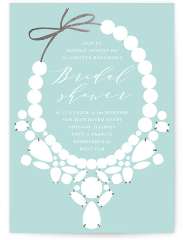 This is a blue, green Bridal Shower Invitations by Baumbirdy called Statement with Foil Pressed printing on Signature in Classic Flat Card format. This bridal shower invitation features simple, bold and classic silhouettes of beautiful statement jewelry