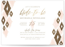 This is a gold bridal shower invitation by shoshin studio called ikat shimmer with foil-pressed printing on signature in standard.