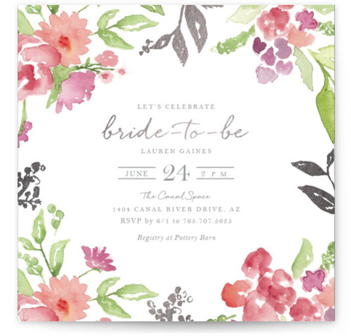 This is a grey, colorful Bridal Shower Invitations by Casey Brock called Floral Bride to Be with Foil Pressed printing on Signature in Classic Flat Card format. This bridal shower party invitation features a whimsical floral watercolor design inviting guests ...