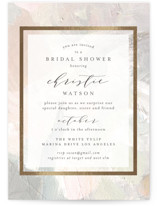 This is a beige bridal shower invitation by Phrosne Ras called gilded pastel painting with foil-pressed printing on signature in standard.