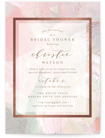 This is a pink, rosegold Bridal Shower Invitations by Phrosne Ras called gilded pastel painting with Foil Pressed printing on Signature in Classic Flat Card format. A painted texture with gold foil detail
