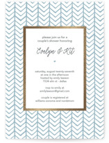 This is a blue bridal shower invitation by Hallie Fischer called Herringbone with foil-pressed printing on signature in standard.
