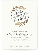 This is a gold bridal shower invitation by Carrie ONeal called Aisle with foil-pressed printing on signature in standard.