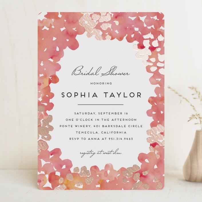 """Garden Spring Blossom"" - Floral & Botanical Foil-pressed Bridal Shower Invitations in Strawberry Sorbet by Petra Kern."
