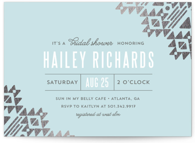 This is a landscape modern, blue Bridal Shower Invitations by Cheer Up Press called Metal and Spirit with Foil Pressed printing on Signature in Classic Flat Card format. Add a touch of shine to your shower with our unique foil ...