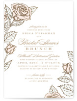 This is a gold bridal shower invitation by Hooray Creative called Handdrawn Roses with foil-pressed printing on signature in standard.