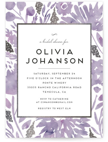 This is a botanical, painterly, purple, silver Bridal Shower Invitations by Petra Kern called Watercolor Delight with Foil Pressed printing on Signature in Classic Flat Card format. Rich yet simple, elegant yet informal, classic yet modern