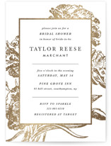 This is a black and white bridal shower invitation by Christie Kelly called Gilded Bloom with foil-pressed printing on signature in standard.