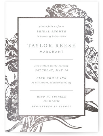 This is a botanical, grey, silver Bridal Shower Invitations by Christie Kelly called Gilded Bloom with Foil Pressed printing on Signature in Classic Flat Card format. Charming type surrounded by sophisticated gold blooms is the perfect invitation for your elegant ...