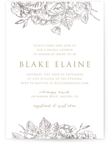 This is a botanical, brown, silver Bridal Shower Invitations by Smudge Design called Gilded Wildflowers with Foil Pressed printing on Signature in Classic Flat Card format. Hand sketched botanicals are accented in foil for a sophisticated and modern design.