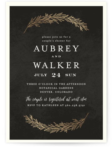 This is a botanical, blue, gold Bridal Shower Invitations by Grace Kreinbrink called Dipped Laurels with Foil Pressed printing on Signature in Classic Flat Card format. Hand drawn laurels in foil delicately frame this wedding invitation.