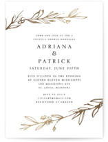 This is a gold bridal shower invitation by Mere Paper called Metallic Branches with foil-pressed printing on signature in standard.