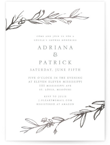 This is a botanical, rustic, simple and minimalist, grey, silver Bridal Shower Invitations by Mere Paper called Metallic Branches with Foil Pressed printing on Signature in Classic Flat Card format. Gold foil branches frame this modern invitation.