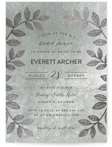This is a botanical, grey, silver Bridal Shower Invitations by shoshin studio called Folk Filigree with Foil Pressed printing on Signature in Classic Flat Card format. Folk inspired botanical motif with rustic, silversmith finish complements your 'back to nature' thematic ...