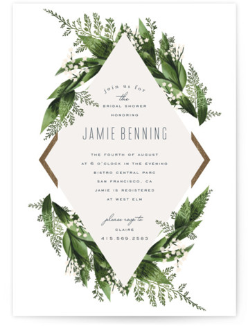 Diamante Foil-Pressed Bridal Shower Invitations