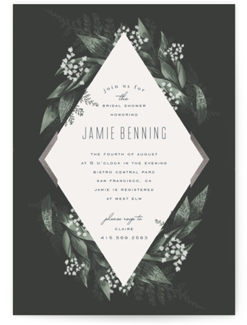This is a botanical, black, silver Bridal Shower Invitations by Leah Bisch called Diamante with Foil Pressed printing on Signature in Classic Flat Card format. A modern and elegant save the date with botanical details
