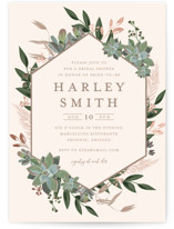 This is a beige bridal shower invitation by Susan Moyal called Succulent Surround with foil-pressed printing on signature in standard.