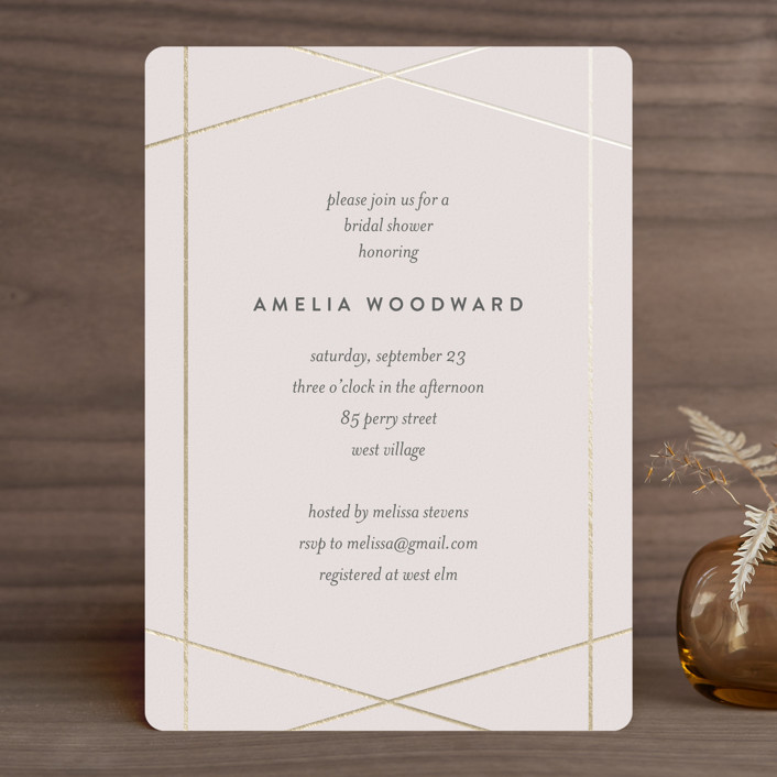 """Simplicity"" - Foil-pressed Bridal Shower Invitations in Blush by Kampai Designs."