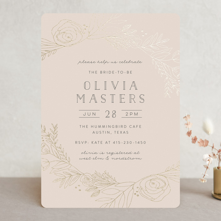 """""""Gilded Vines"""" - Foil-pressed Bridal Shower Invitations in Cerise by Annie Montgomery."""