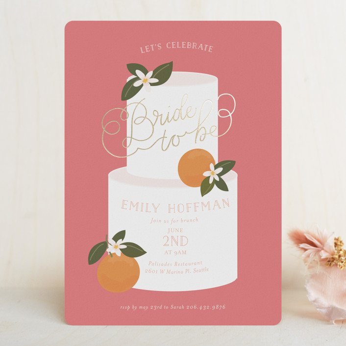 """Citrus and  Cake"" - Foil-pressed Bridal Shower Invitations in Coral by Itsy Belle Studio."