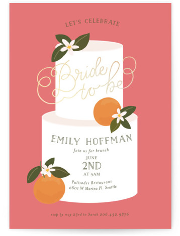 This is a pink Bridal Shower Invitations by Itsy Belle Studio called Citrus and Cake with Foil Pressed printing on Signature in Classic Flat Card format. This charming hand lettered Bridal Shower invitation features illustrated citrus and cake, perfect for ...