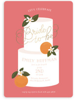 This is a pink bridal shower invitation by Itsy Belle Studio called Citrus and  Cake with foil-pressed printing on signature in standard.