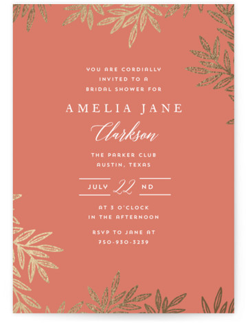 This is a gold, orange Bridal Shower Invitations by Katharine Watson called Elegant Leaves with Foil Pressed printing on Signature in Classic Flat Card format. This design uses a simple hand drawn leaf border to create a unique, elegant shower ...