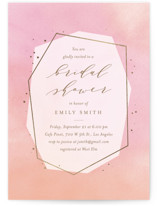 This is a pink bridal shower invitation by Ana Sharpe called Luminous Jewel with foil-pressed printing on signature in standard.