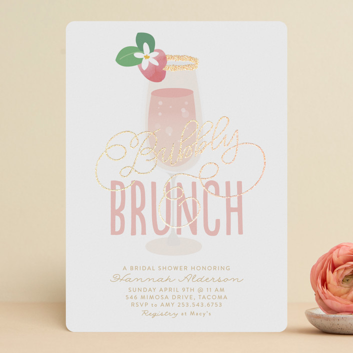 """""""Bubbly & Brunch"""" - Foil-pressed Bridal Shower Invitations in Blush by Itsy Belle Studio."""