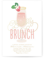 This is a gold bridal shower invitation by Itsy Belle Studio called Bubbly & Brunch with foil-pressed printing on signature in standard.