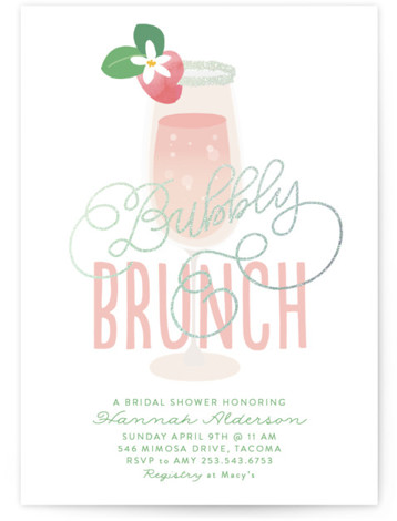 This is a green, silver Bridal Shower Invitations by Itsy Belle Studio called Bubbly & Brunch with Foil Pressed printing on Signature in Classic Flat Card format. This glitter foiled Bridal Shower Invitation features hand lettering and cocktails.