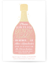 This is a gold bridal shower invitation by Sarah Brown called Brunch and Bubbly with foil-pressed printing on signature in standard.