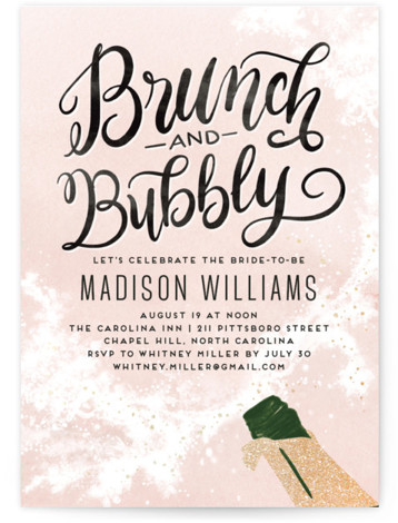 Fancy Brunch Foil-Pressed Bridal Shower Invitations