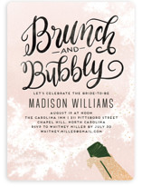 This is a pink bridal shower invitation by Pink House Press called Fancy Brunch with foil-pressed printing on signature in standard.