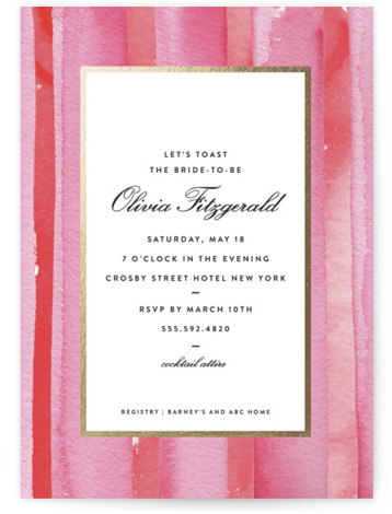 This is a gold, pink Bridal Shower Invitations by Lagniappe Paper called Mercer Street with Foil Pressed printing on Signature in Classic Flat Card format. Inspired by a favorite haunt in Soho, this pre wedding party invitation is stylish and ...