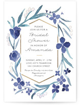 This is a blue bridal shower invitation by Liz Conley called Floral Frame with foil-pressed printing on signature in standard.
