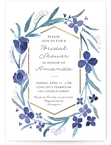 This is a blue, gold Bridal Shower Invitations by Liz Conley called Floral Frame with Foil Pressed printing on Signature in Classic Flat Card format. This lovely floral design features a delicate touch of gold and a watercolor look. Perfect ...