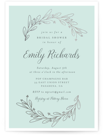 This is a blue, silver Bridal Shower Invitations by Shirley Lin Schneider called Bridal Wreath with Foil Pressed printing on Signature in Classic Flat Card format. A botanical bridal shower invitation featuring a minimalist, hand drawn wreath.