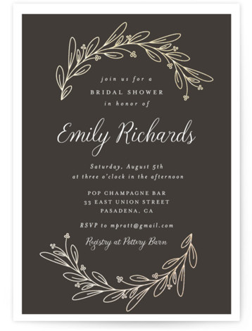 This is a brown, gold Bridal Shower Invitations by Shirley Lin Schneider called Bridal Wreath with Foil Pressed printing on Signature in Classic Flat Card format. A botanical bridal shower invitation featuring a minimalist, hand drawn wreath.