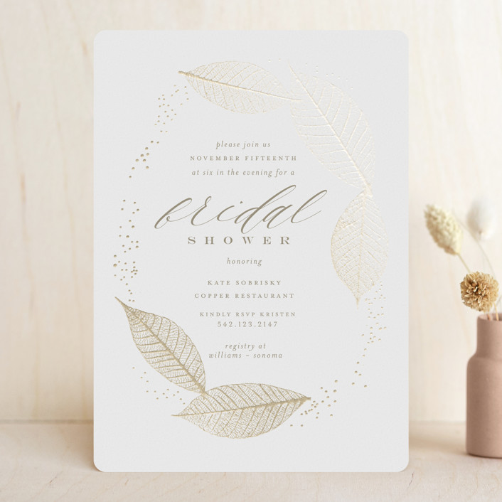 """""""Sparkly Leaves"""" - Foil-pressed Bridal Shower Invitations in Latte by Lori Wemple."""