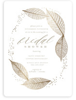 This is a brown bridal shower invitation by Lori Wemple called Sparkly Leaves with foil-pressed printing on signature in standard.