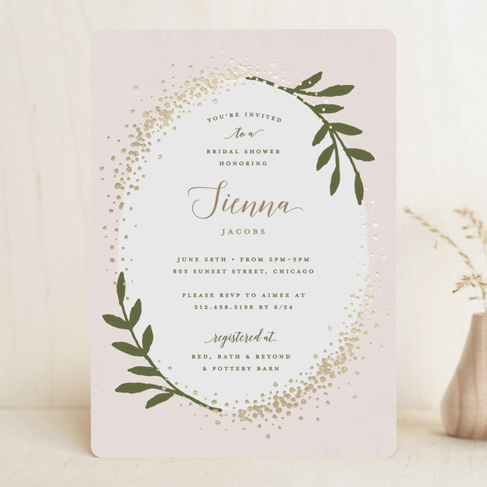 """""""Sparkling"""" - Foil-pressed Bridal Shower Invitations in Petal by Michelle Taylor."""