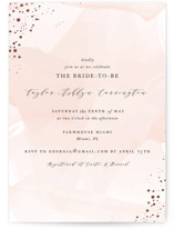 This is a pink bridal shower invitation by Jennifer Postorino called Formal Watercolor with foil-pressed printing on signature in standard.