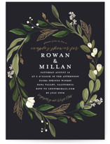 This is a black bridal shower invitation by Susan Moyal called Greenery Crown with foil-pressed printing on signature in standard.