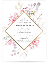 This is a pink bridal shower invitation by Poi Velasco called Ascent with foil-pressed printing on signature in standard.