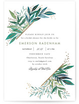 This is a green bridal shower invitation by Alethea and Ruth called Painted Leaves Corner with foil-pressed printing on signature in standard.